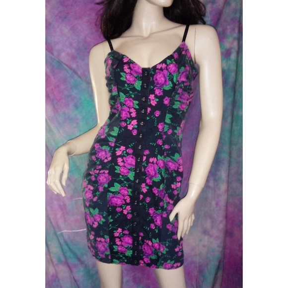 84fcad157da Betsey Johnson Dresses   Skirts - Black hot pink rose floral corset Bustier  dress M